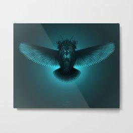 Strange Hummingbird 2B. Black & turquoise.(Red eyes series) Metal Print