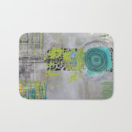 Teal & Lime Round Abstract Art Collage Bath Mat