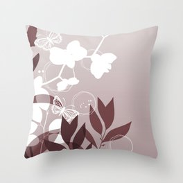 Pantone Red Pear Botanicals and Butterflies Graphic Design Throw Pillow