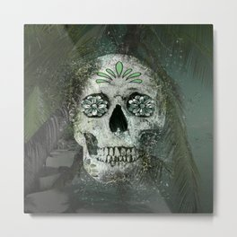 Palm Tree Beach Sugar Skull Metal Print
