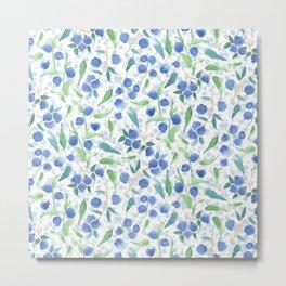 Watercolor Blueberries Metal Print