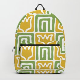 Mid Century Flower Garden Pattern 381 Yellow and Chartreuse Backpack