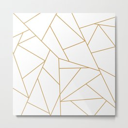 Geometric Gold Hexagon Pattern Metal Print