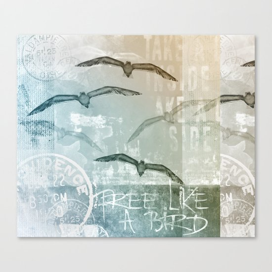 Seagull mixed media artwork Canvas Print
