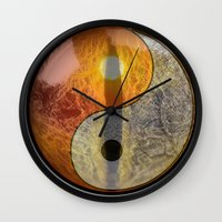 yin yang Wall Clocks featuring yin yang by Vector Art