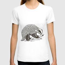 Climbing Badger Lino Print T-shirt