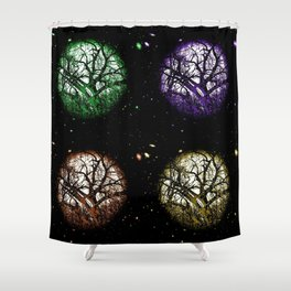 Tree Planets Shower Curtain