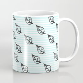 Modern teal black watercolor striped leaves pattern Coffee Mug