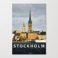 stockholm Canvas Prints featuring STOCKHOLM by Sara Ahlgren