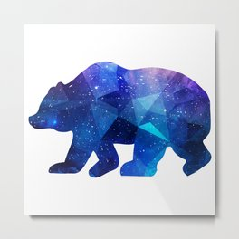 BEAR POLYGONAL SPACE Metal Print