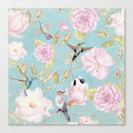Pastel Teal Vintage Roses and Hummingbird Pattern Canvas Print
