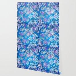 Snowflake background blue purple Wallpaper