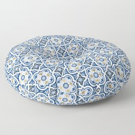 Blue & Gold Azulejo Tiles // Portuguese style ceramics Floor Pillow