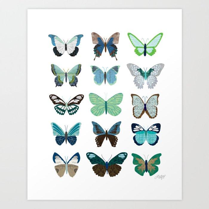 Green and Blue Butterflies Kunstdrucke