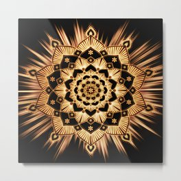 Golden Spirit Glowing Gold Mandala Metal Print