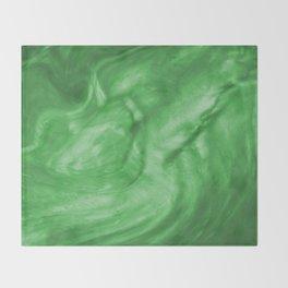 Flowing Shamrock Green Pearlescent Haze Fluid Art Illustration Throw Blanket