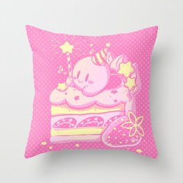 Kirby Cake Throw Pillow