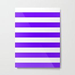 Horizontal Stripes - White and Indigo Violet Metal Print