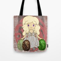 mother of dragons Tote Bags featuring Mother of Dragons by Cosmic Lab Creations