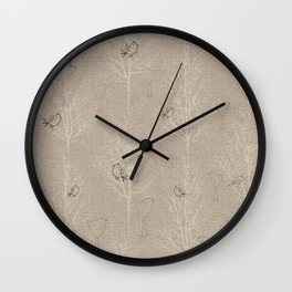 Cute Little Line Art Birds in White Trees - Taupe Wall Clock