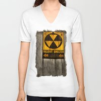 fallout V-neck T-shirts featuring Fallout Shelter by Julie Maxwell