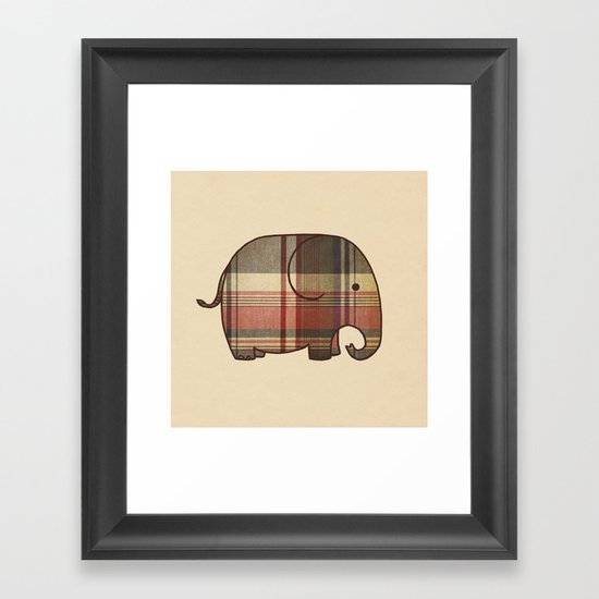 Plaid Elephant  Framed Art Print
