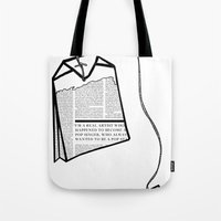 literary Tote Bags featuring Literary Tea by Lizzi Davis