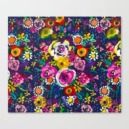 Les Fleurs Colorful Painted Floral in Navy Canvas Print