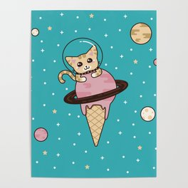 Space Cat on Ice Cream Planet Poster