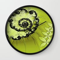 lime green Wall Clocks featuring Lime by Shalisa Photography