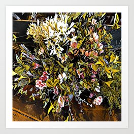 Yellow and Pink Bouquet of Flowes Art Print