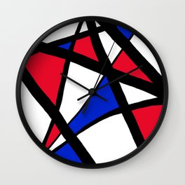 Geometric Red, White, and Blue Stars Abstract Wall Clock
