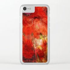Floral impressionism in passionated red Clear iPhone Case