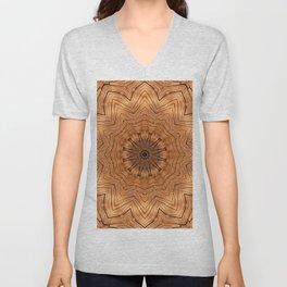Wooden Flower Ring kaleidoscope Unisex V-Neck