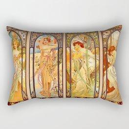 """Alphonse Mucha """"Times of day"""" Rectangular Pillow"""