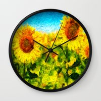 sunflowers Wall Clocks featuring sunflowers by KrisLeov