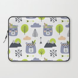 Cute Mountains Bears and Trees Happy Campers Children Pattern Laptop Sleeve