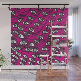 Freddie Eyeballs Fuschia Hot Pink Red Wall Mural