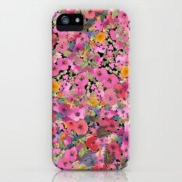 Pink Hollyhock Garden iPhone Case
