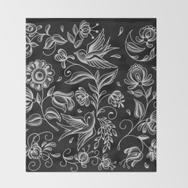 sparrows and swirls black Throw Blanket