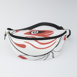 The mischievous fox's mask is accompanied by 9 tailed foxes symbolizing wisdom Fanny Pack