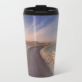 I - Typical Dutch landscape with a dike, in winter at sunrise Travel Mug