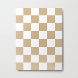 Large Checkered - White and Tan Brown Metal Print