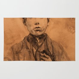 watercolor portrait of victorian boy Rug