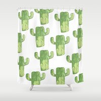 cacti Shower Curtains featuring cacti by kristinesarleyart