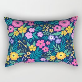 23 Amazing floral pattern with bright colorful flowers. Dark blue background. Rectangular Pillow