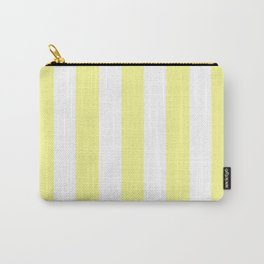 Pastel yellow - solid color - white vertical lines pattern Carry-All Pouch