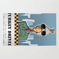 taxi driver Area & Throw Rugs featuring Thanksgiving-themed Taxi (Turkey) Driver Movie Poster by David Owen Breeding