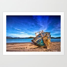 Abandoned Blue Ship at the Edge of the World Art Print
