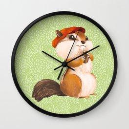 Dapper Chipmunk Wearing Newsboy Hat Wall Clock